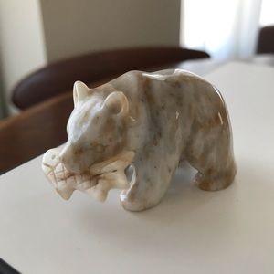 Carved Stone Polar Bear Miniature